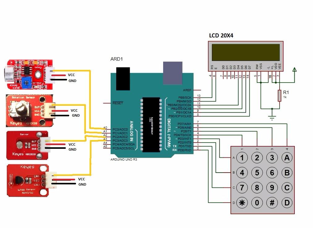 Schematic LCD and 4X4 KeyPad – Electrónica y proyectos Arduino y
